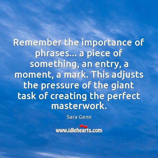 Image, Remember the importance of phrases… a piece of something, an entry, a