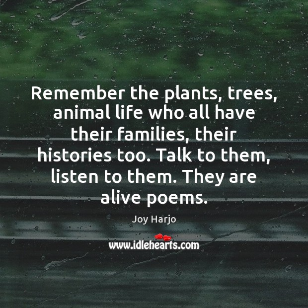 Joy Harjo Picture Quote image saying: Remember the plants, trees, animal life who all have their families, their