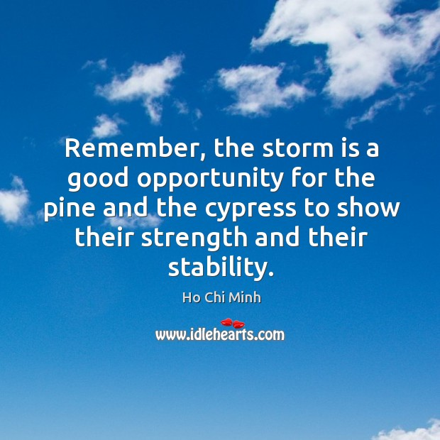 Remember, the storm is a good opportunity for the pine and the cypress to show their strength and their stability. Ho Chi Minh Picture Quote