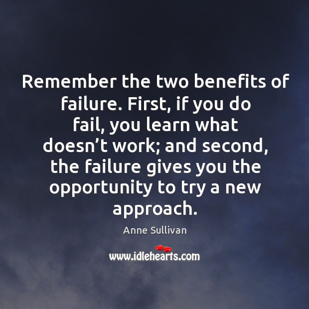 Image, Remember the two benefits of failure. First, if you do fail, you learn what doesn't work