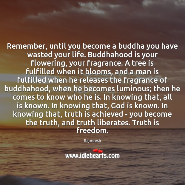 Image, Remember, until you become a buddha you have wasted your life. Buddhahood