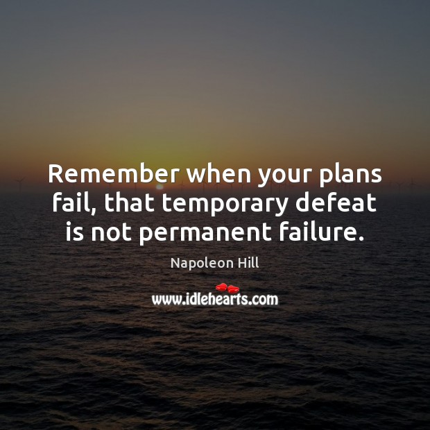 Remember when your plans fail, that temporary defeat is not permanent failure. Defeat Quotes Image