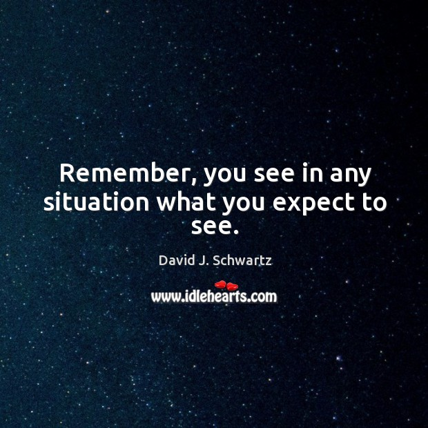 Remember, you see in any situation what you expect to see. David J. Schwartz Picture Quote