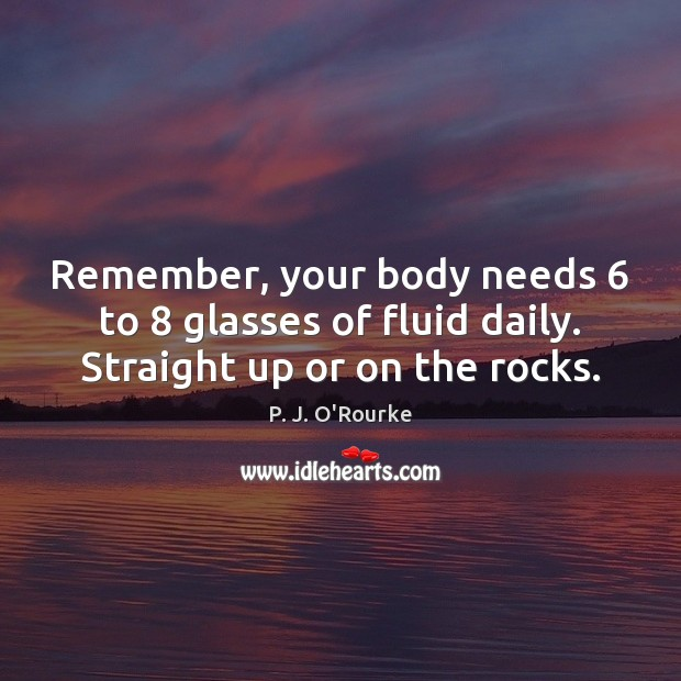 Image, Remember, your body needs 6 to 8 glasses of fluid daily. Straight up or on the rocks.
