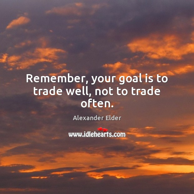Image, Remember, your goal is to trade well, not to trade often.