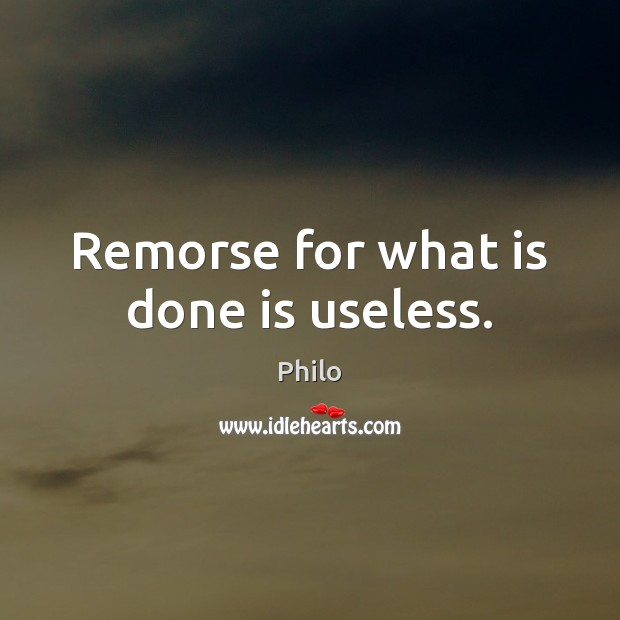 Image, Remorse for what is done is useless.