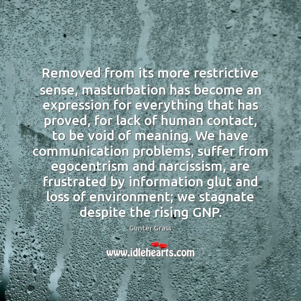 Removed from its more restrictive sense, masturbation has become an expression for Gunter Grass Picture Quote