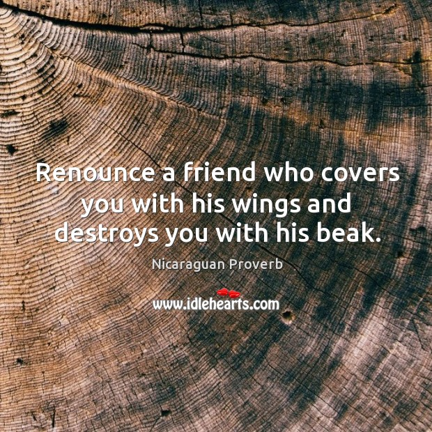 Image, Renounce a friend who covers you with his wings and destroys you with his beak.