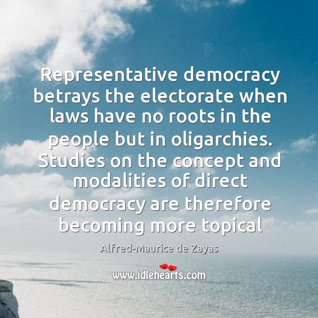 Representative democracy betrays the electorate when laws have no roots in the Image