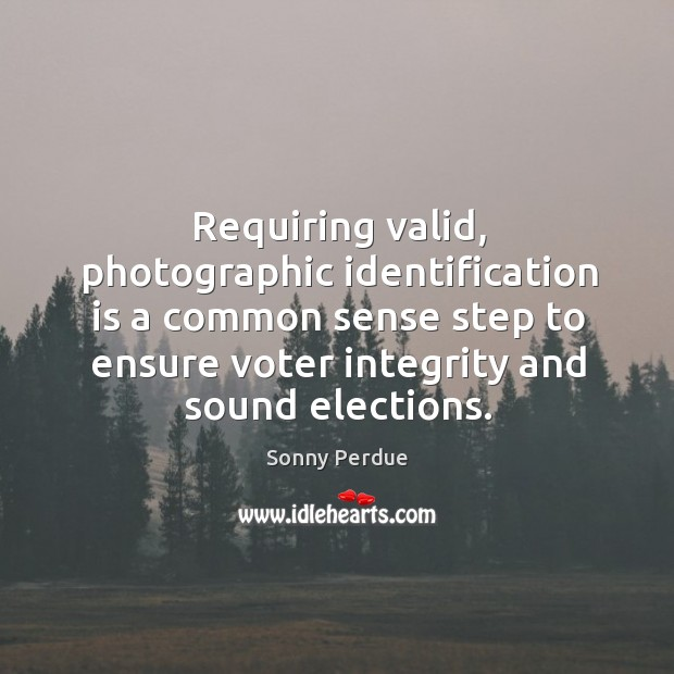 Requiring valid, photographic identification is a common sense step to ensure voter integrity and sound elections. Image