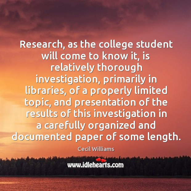 Research, as the college student will come to know it Image