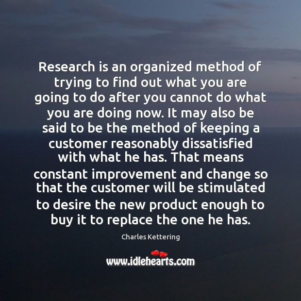 Research is an organized method of trying to find out what you Charles Kettering Picture Quote