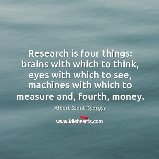 Research is four things: brains with which to think, eyes with which to see Image