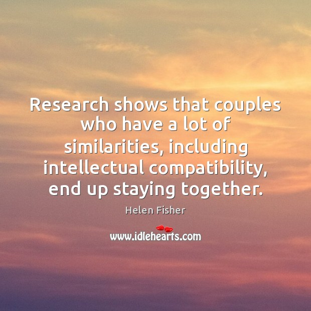 Image, Research shows that couples who have a lot of similarities, including intellectual