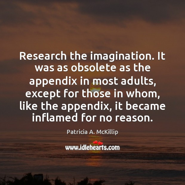 Research the imagination. It was as obsolete as the appendix in most Patricia A. McKillip Picture Quote