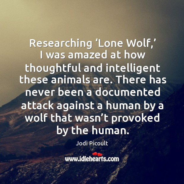 Researching 'lone wolf,' I was amazed at how thoughtful and intelligent these animals are. Image