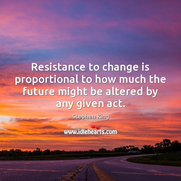 Resistance to change is proportional to how much the future might be Image