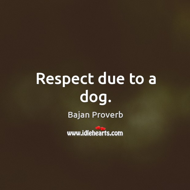 Respect due to a dog. Bajan Proverbs Image