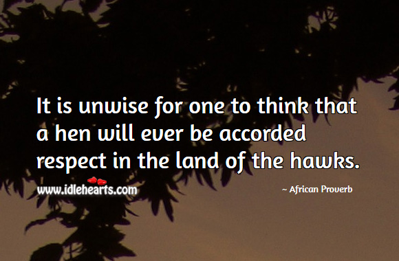 It is unwise for one to think that a hen will ever be accorded respect in the land of the hawks. African Proverbs Image