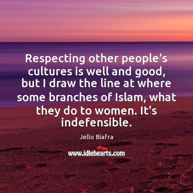 Respecting other people's cultures is well and good, but I draw the Image