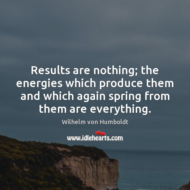 Results are nothing; the energies which produce them and which again spring Image