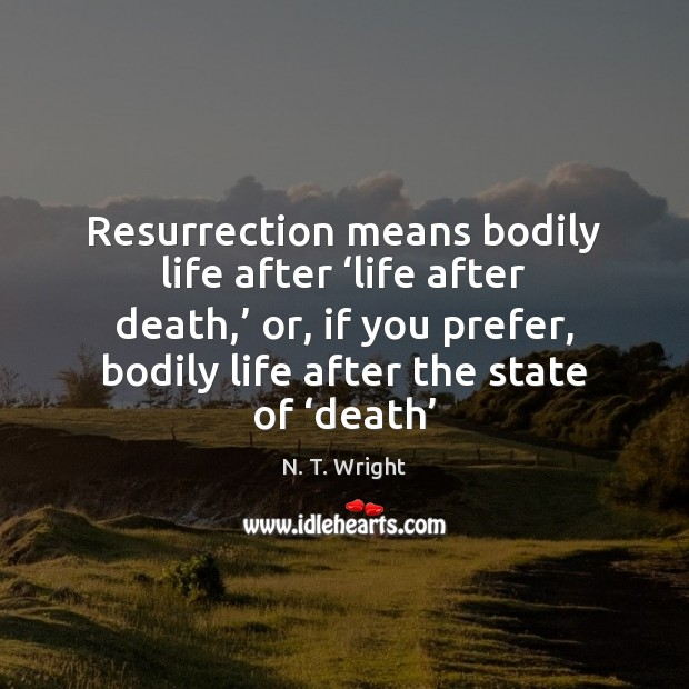 Image, Resurrection means bodily life after 'life after death,' or, if you prefer,