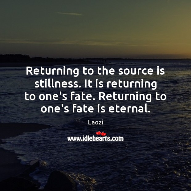 Image, Returning to the source is stillness. It is returning to one's fate.