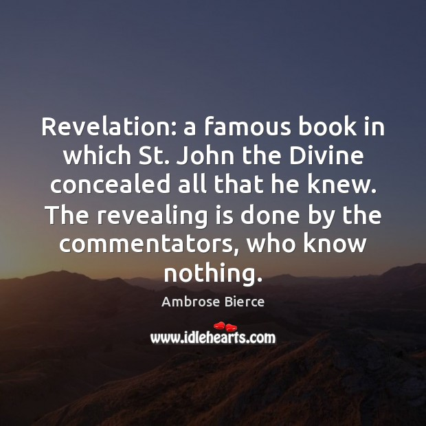 Revelation: a famous book in which St. John the Divine concealed all Image