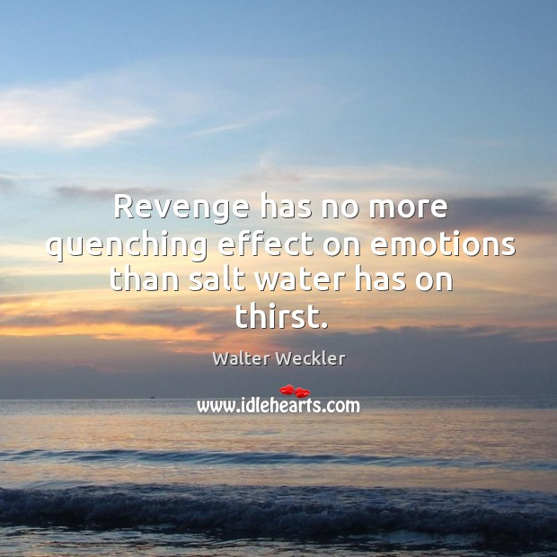 Revenge has no more quenching effect on emotions than salt water has on thirst. Image