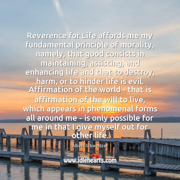 Reverence for Life affords me my fundamental principle of morality, namely, that Albert Schweitzer Picture Quote