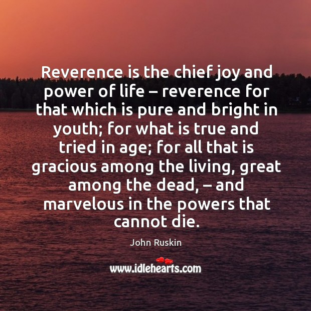 Reverence is the chief joy and power of life – reverence for that which is pure Image