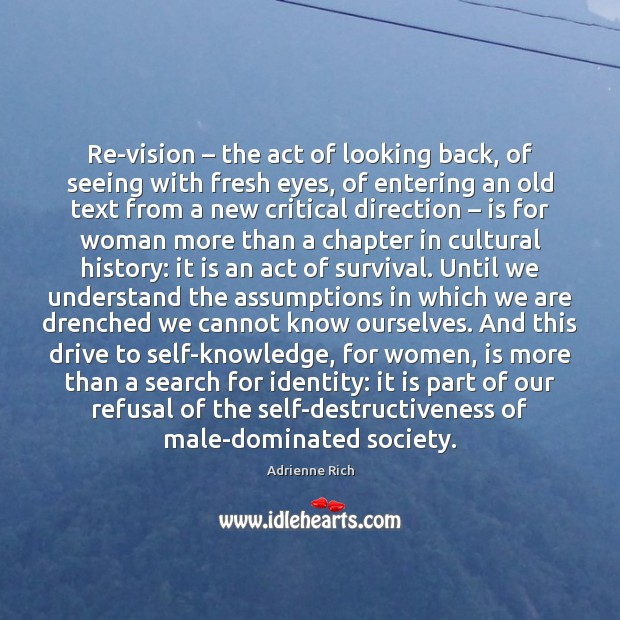 Re-vision – the act of looking back, of seeing with fresh eyes, of Image