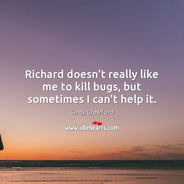Richard doesn't really like me to kill bugs, but sometimes I can't help it. Cindy Crawford Picture Quote