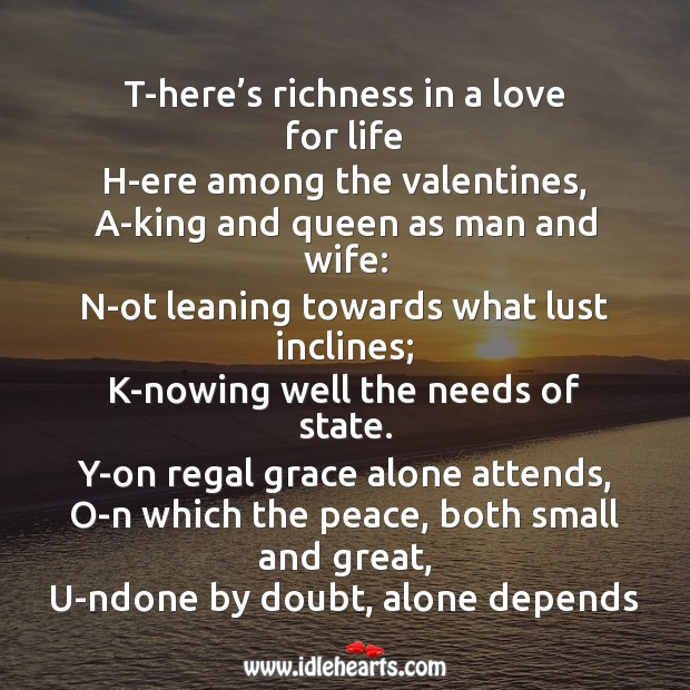 Richness in a love for life Valentine's Day Messages Image
