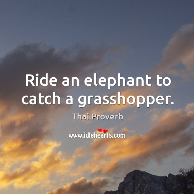 Ride an elephant to catch a grasshopper. Thai Proverbs Image