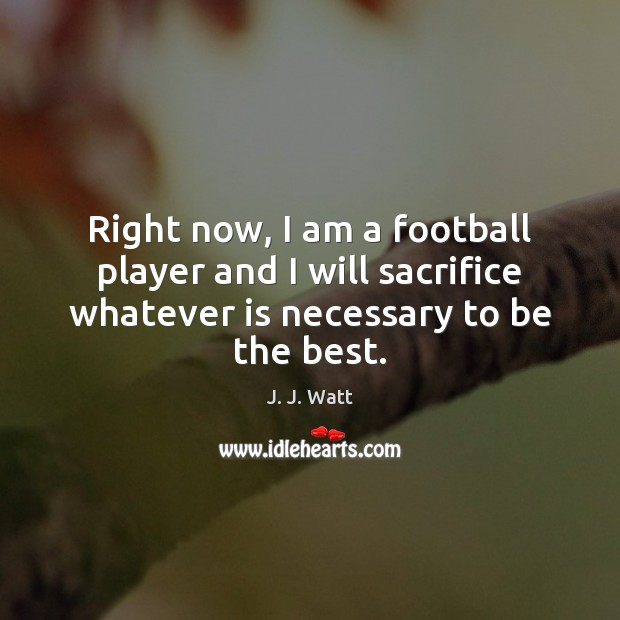 Right now, I am a football player and I will sacrifice whatever J. J. Watt Picture Quote
