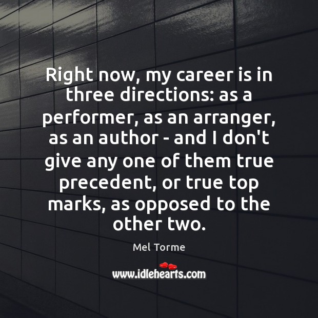 Image, Right now, my career is in three directions: as a performer, as