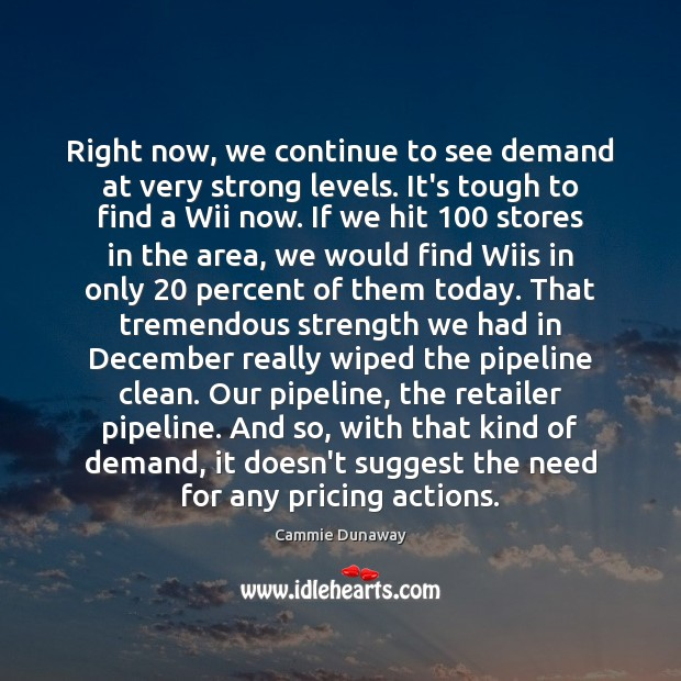 Image, Right now, we continue to see demand at very strong levels. It's
