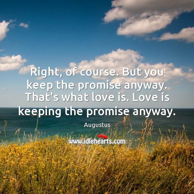 Right, of course. But you keep the promise anyway. That's what love Image