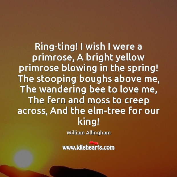 Ring-ting! I wish I were a primrose, A bright yellow primrose blowing William Allingham Picture Quote