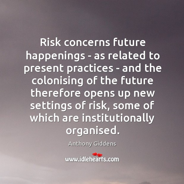 Risk concerns future happenings – as related to present practices – and Image