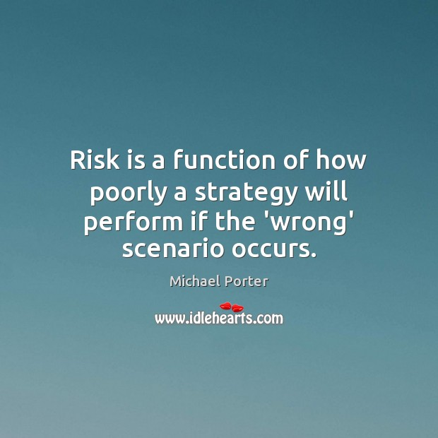 Risk is a function of how poorly a strategy will perform if the 'wrong' scenario occurs. Michael Porter Picture Quote