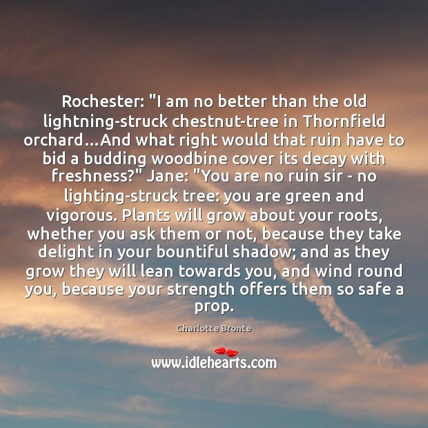 """Rochester: """"I am no better than the old lightning-struck chestnut-tree in Thornfield Image"""