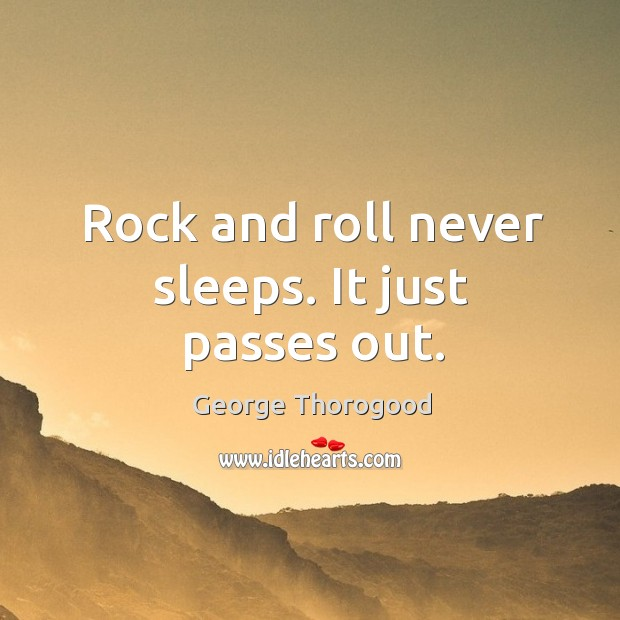 Rock and roll never sleeps. It just passes out. Image