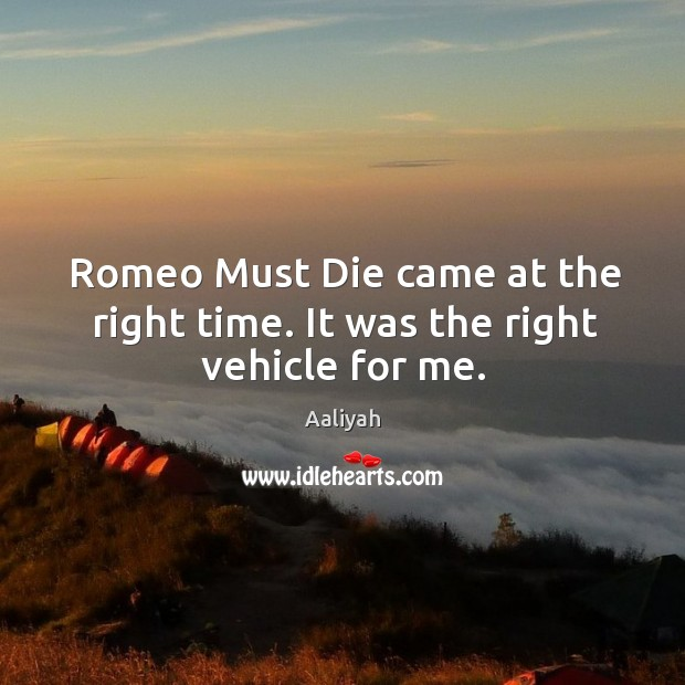 Romeo must die came at the right time. It was the right vehicle for me. Aaliyah Picture Quote