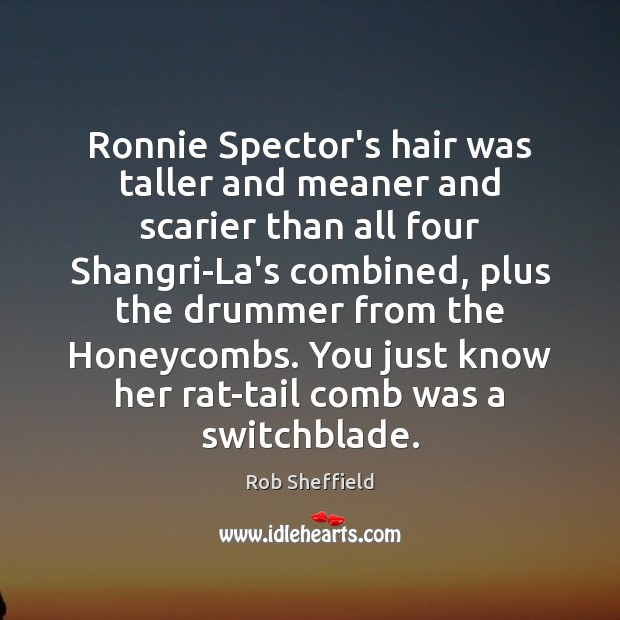 Ronnie Spector's hair was taller and meaner and scarier than all four Rob Sheffield Picture Quote