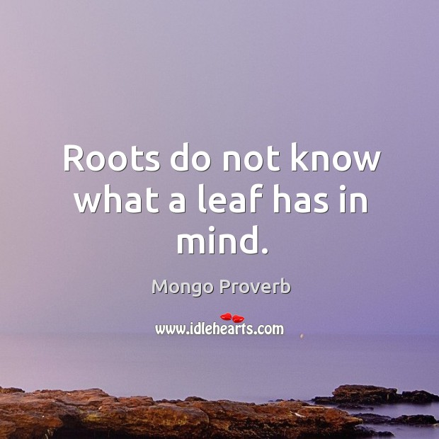 Image, Roots do not know what a leaf has in mind.