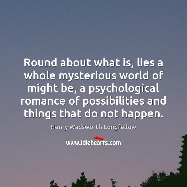 Image, Round about what is, lies a whole mysterious world of might be,