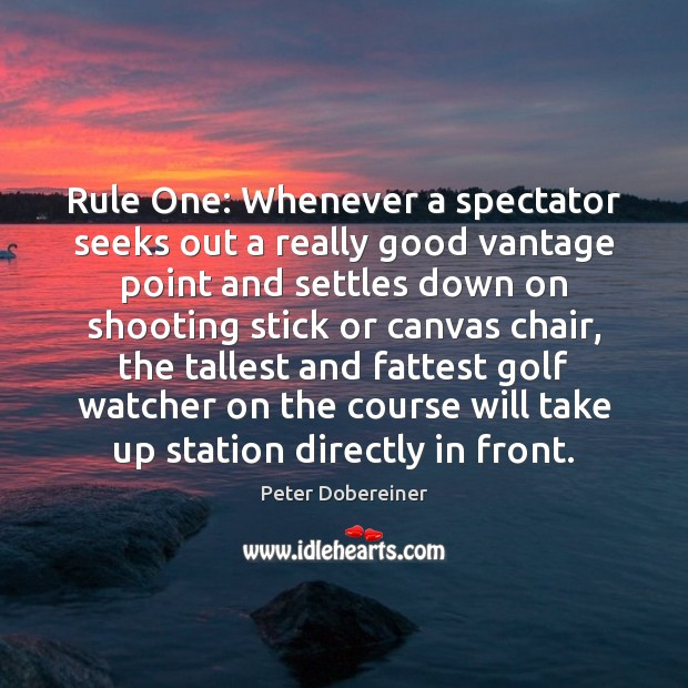 Rule One: Whenever a spectator seeks out a really good vantage point Image