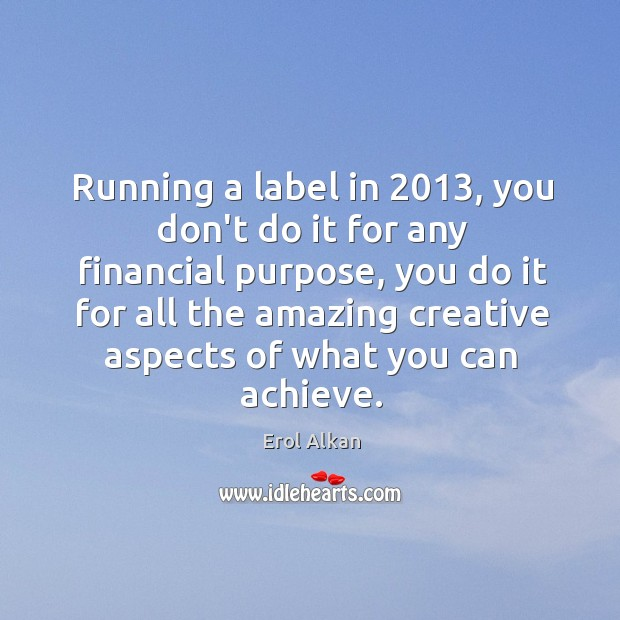 Running a label in 2013, you don't do it for any financial purpose, Image